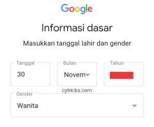 Masukkan tanggal lahir dan gender