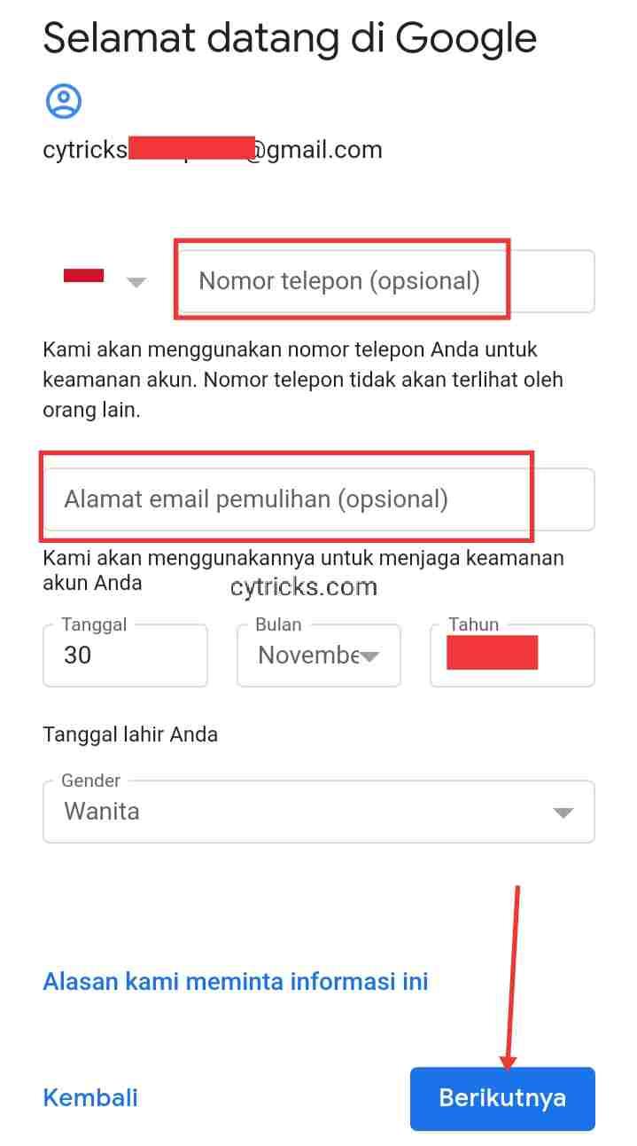 Form Selamat datang di Google