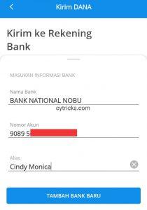 Informasi Bank Tujuan
