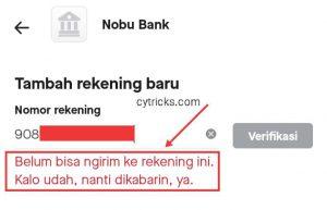 Gagal menambahkan nomor rekening OVO (Nobu Bank)