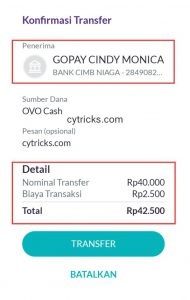 Konfirmasi Transfer OVO Ke GoPay