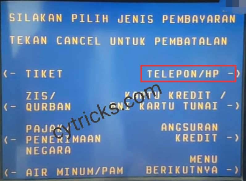 Klik Telepon/HP Pada Menu Pilih Jenis Pembayaran