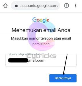 Masukkan Email Pemulihan