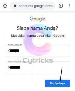 Masukkan Nama Pada Akun Google
